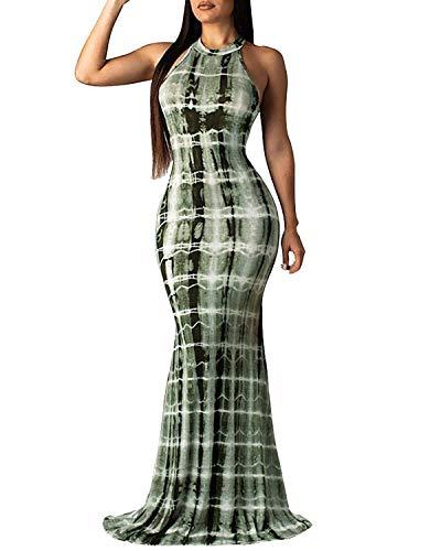 Silk Tie Dye Dress - BIUBIU Mermaid Dresses for Women, Summer Sleeveless Tie Dye Maxi Dress Bodycon Floor Length Party Evening Dress Gown Light Green M