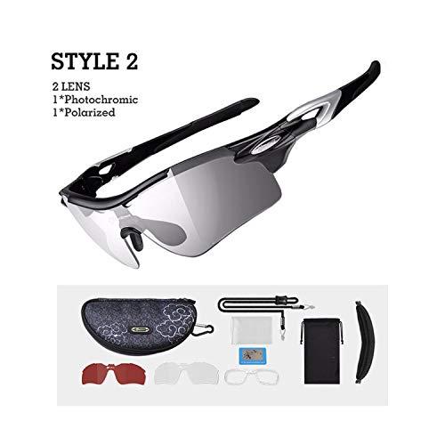 - Polarized Photochromic Cycling Glasses Bike Glasses Outdoor Sports Bicycle Sunglasses Goggles Eyewear Frame,Style2 Black