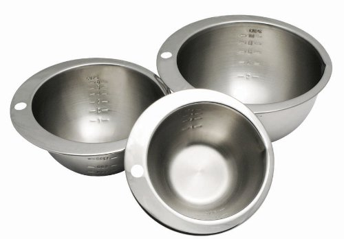 Cybrtrayd 3-Piece Chocolatier's Stainless Steel Measuring Bowl Set