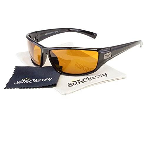 POLARIZED High Definition Driving & Sports Clear Vision Gold Lens Sunglasses By Sunclassy – Impact Resistance Lenses FDA Approved 100% Block Of UVA, UVB & UVC Rays Comfortable - Bands Aviators Ray