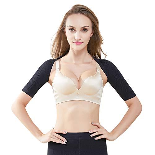 Fine Women Seamless Arm Shaper Short Cropped Navel Mesh Cardigan (Black, M) ()