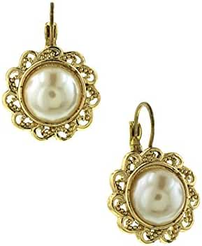 Gold-Tone Simulated Pearl Round Drop Earrings