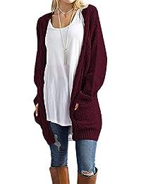 6675e811942 Women s Open Front Long Sleeve Boho Boyfriend Knit Chunky Cardigan Sweater