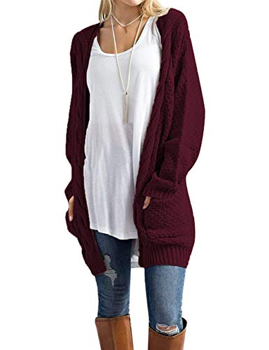 Traleubie Women's Boho Long Sleeve Open Front Chunky Warm Cardigans Pointelle Pullover Sweater Blouses Burgundy S -