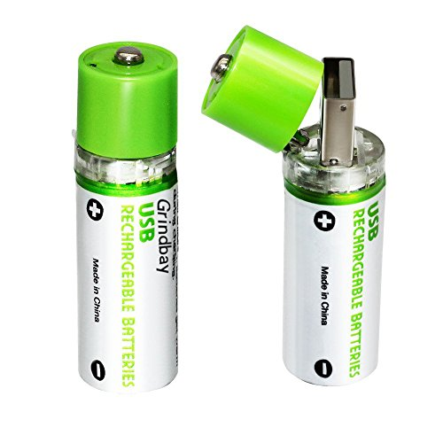 Rechargeable AA Battery, R6 Chargeable Integrated USB Charg Batteries 1450mAh 1.2V, 2 Cell Pack