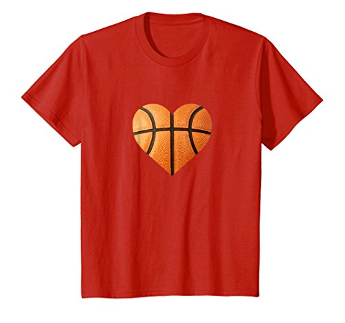 Kids I Love You Basketball Heart Valentine's Day Emoticon T Shirt 6 Red