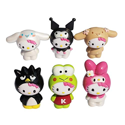 LVCL Ltd 6pcs/lot Hello Kitty Figure Toy Cute Hello Kitty Cosplay Animals Cat Bird Frog Animal Model for Kids