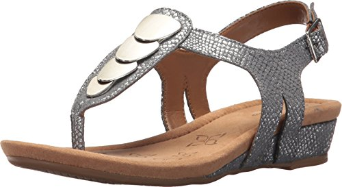 Comfortiva Summit Pewter Shell Suede Women's Sandals