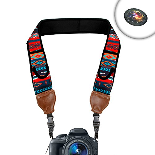 TrueSHOT Camera Neck Strap Shoulder Sling Aztech with Neoprene Design and Accessory Storage Pockets by USA Gear - Works with Pentax K-70 , K-1 , K-3 II and More