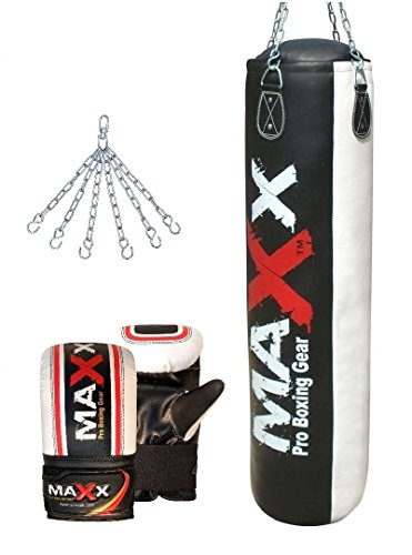 TurnerMAX Genuine Cowhide Leather Punch Bag Boxing Set Bag Gloves and Heavy Duty Metal Punchbag Ceiling hook bracket with Free Swivel Chain Natural