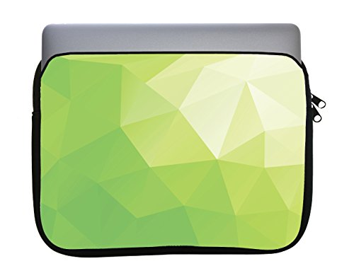 Lime Green Polygon Design 11x14 inch Neoprene Zippered Laptop Sleeve Bag by egeek amz for MacBook or Any Other Laptop (Green Laptops Lime)
