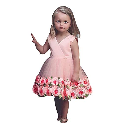 Price comparison product image ZHANGS Kids Wedding Dress Floral Baby Girl Princess Bridesmaid Evening Party Elegant Formal Tulle Pageant Dress (3T, Pink)
