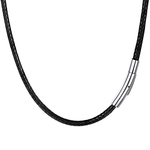 (PROSTEEL Black Leather Necklace Braided Cord Boho Rope Chain, Men Women Personalized Jewelry Minimalist Necklace)