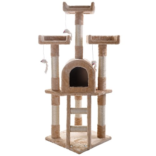 JAXPETY Cat Tree Play House Gym Tower Condo Scratch Post Rope Basket Swing Beige