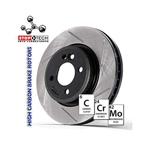 Left StopTech 126.61054CSL Cryo Sport Slotted Brake Rotor
