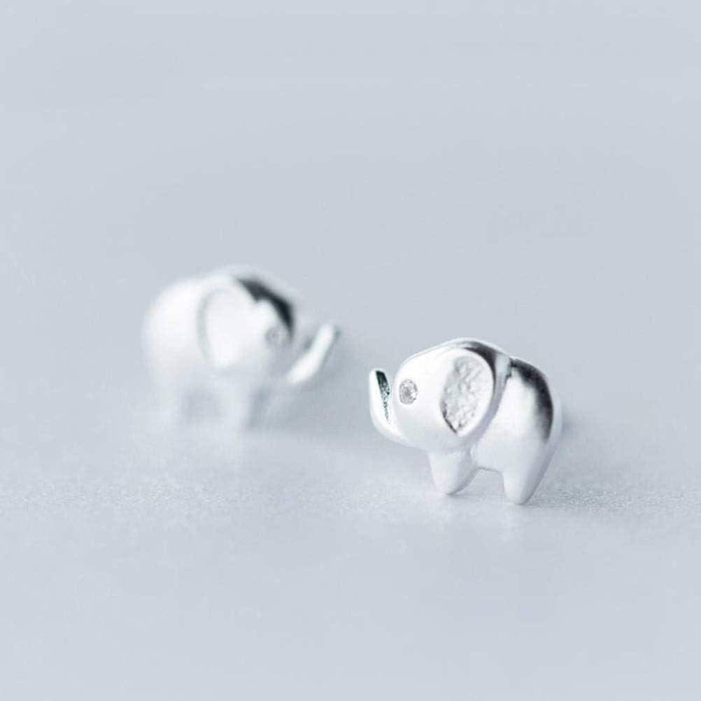 WOZUIMEI S925 Pendientes de Plata Pendientes de Diamantes Pequeños Coreanos Dulces para Mujer Joyería de Oreja de Elefante Bebé Personalizadaun par, Plata 925