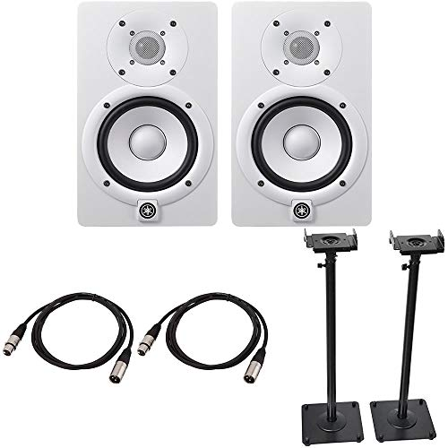 Yamaha HS5 Powered Studio Monitor Pair White Bundled with a Pair of Height Adjustable Speaker Stands and 2 x 15-Ft XLR Cables