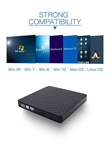 External CD DVD Drive, Haiway USB 3.0 Portable CD/DVD Drive Re-Writer Burner Super-Drive High Speed Data Transfer for Laptop Desktop Apple PC Mac OS Win 7/8/10/ Linux OS(Black) by Haiway88 (Image #4)