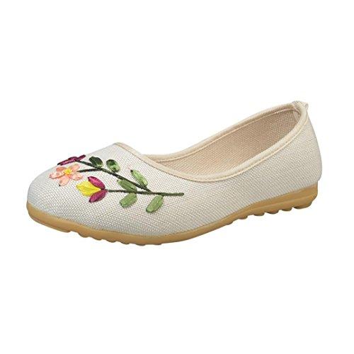 cómodos de zapatos mujeres niñas blancos bordado planos lino vintage flor verano Jamicy casuales wqYPTw