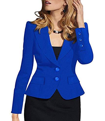 (SEBOWEL Woman Casual Long Sleeve Work Office Business Jacket Blazer Suit Blue M)