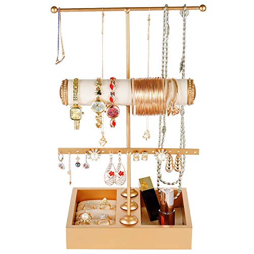 (Jewelry Organizer Stand 3 Tier Jewelry Tree Stand Metal Table Top Necklace Holder Display Tabletop Ring Tray Jewelry Towers Bracelets Earrings Cosmetic Watches Hanging Storage for Women Girls, Gold)