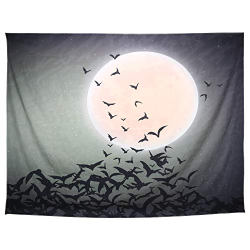 Lewondr Halloween Printed Tapestry, Wall Hanging Blanket Halloween Moon Tapestry Halloween Bat Tapestry for Living Room Bedroom Dormitory Home Festival Decoration 59 x 51, Small, Bat, Green]()