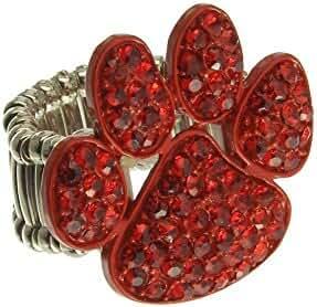 Crystal Pave Paw Print Charm Stretch Fashion Ring