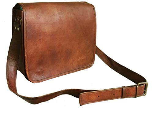 Leather Full Flap Messenger Handmade Bag Laptop Bag Satchel Bag Padded Messenger Bag School Bag 15X11X4 Inches Brown