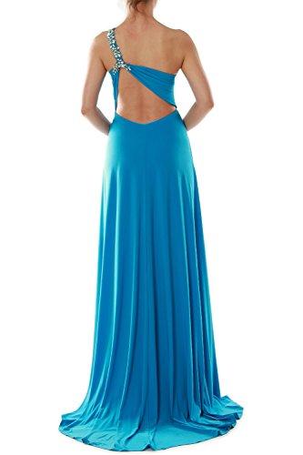 One Shoulder Azul Dress Gown Jersey Wedding Women Evening Prom Long Macloth Party qZUxgT5wn