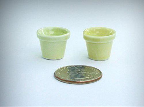 NICE Pair of 2 Dollhouse Miniature 1:12 Soft Green Porcelain Planter Pots #GPLT4 - My Mini Fairy Garden Dollhouse Accessories for Outdoor or House Decor by New Miniature
