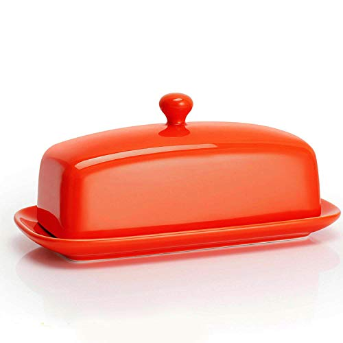Sweese 3174 Porcelain Butter Dish with Lid, Perfect for East/West Butter, Orange