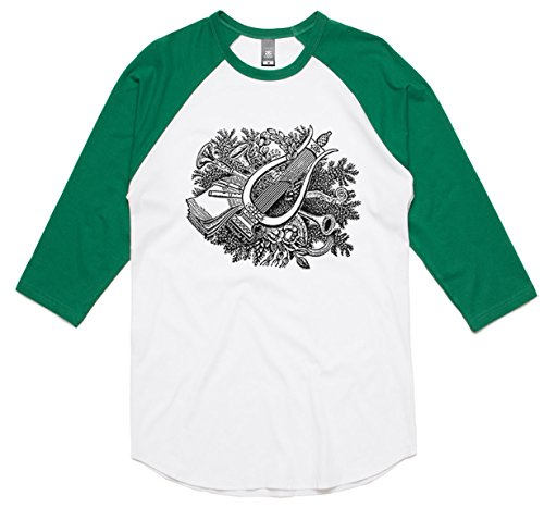 theindie-botanical-harp-black-3-4-sleeve-raglan-baseball-t-shirt-white-kelly-xs