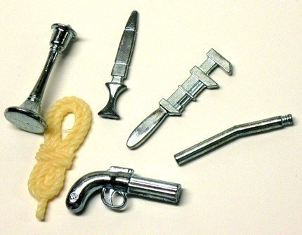 Clue Board Game Replacement Weapons Set (6) Pewter Rope Candlestick Dagger Wrench Lead Pipe Revolver by Hasbro
