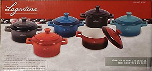 Lagostina Stoneware Mini Casseroles Set Of 6 8 Ounce Mini Casseroles Perfect For Individual Souffles Soups Desserts Pastas Hot Assorted Colors Dishwasher Oven And Microwave Safe 0055837100539 Amazon Com Books
