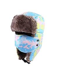ZLSLZ Winter Faux Fur Camo Trapper Hunting Bomber Hat Cap Windproof Mask