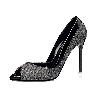 Talones de las mujeres Primavera Verano Otoño zapatos del club de boda sintético Fiesta y vestido de noche del tacón de aguja Negro Plata Oro Black