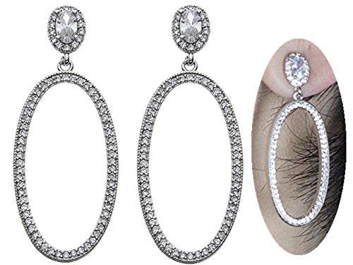 Large Endless Hoop Earrings,Rhinestone studs Cubic Zircon Big Circle Earrings Dangle,Round Eardrop Earrings, Anti allergy Best Gift for Women Girl Fashion -