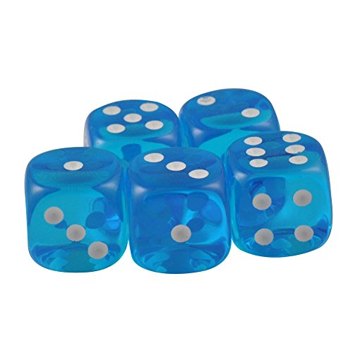 Set of 5 Deluxe Transparent Turquoise Dice 10mm White Spots in Snow Organza Bag