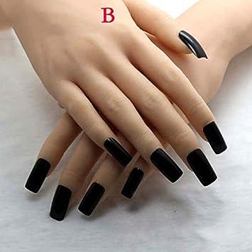 Amazon.com: 20 uñas falsas de acrílico negro con punta de ...
