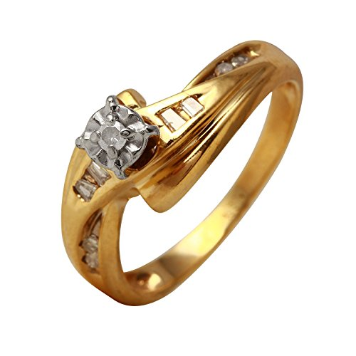 0.1 Carat Natural Diamond 10K Yellow Gold Engagement Ring for Women Size 5.5 (Baguette Diamonds 0.1 Ct)