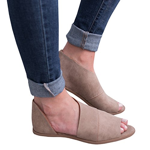 Peep Toe Cut Shoes Out (JeanewPole1 Womens Casual Slip On D'orsay Flats Peep Toe Cutout Asymmetrical Sandals Shoes Loafers)