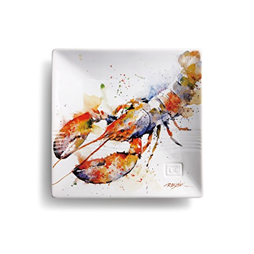 Lobster Ocean Watercolor Red On White 7 x 7 Glossy Stoneware Snack Plate