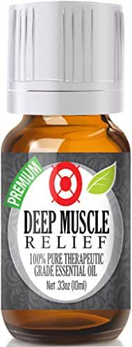 Deep Muscle Relief - 100% Pure, Best Therapeutic Grade Essential Oil - 10ml (Comparable to DoTerra's Deep Blue & Young Living's PanAway Blend - Wintergreen, Peppermint, Chamomile Blue, Eucalyptus, Camphor)