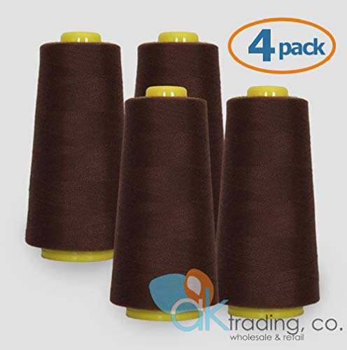 AK Trading 4-Pack Chocolate Brown Serger Cone Thread (6000 Yards Each) of Polyester Thread for Sewing, Quilting, Serger