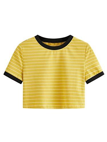 SweatyRocks Women's Short Sleeve Striped Crop T-Shirt Casual Tee Tops Mustard L ()