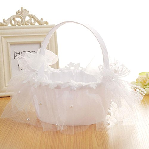 Taloyer Bride Hand Knit Ribbon Lace Flower Basket Delicate Wedding Supplies by Taloyer (Image #1)