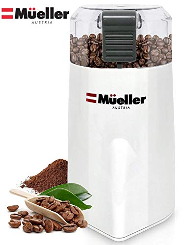 Mueller Austria HyperGrind Precision Electric Spice/Coffee Grinder Mill with Large Grinding Capacity and HD Motor also for Spices, Herbs, Nuts, Grains, White (Coffee Cups Hd Design)