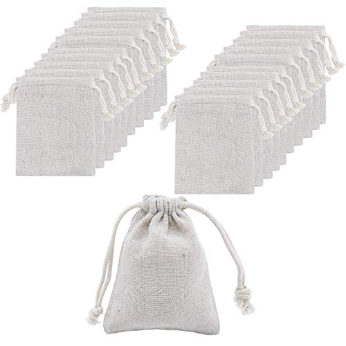 AHUA 50Pcs Small Cotton Double Drawstring Bags Jewelry Pouches Gift Candy Favor Bag for Christmas Festival Wedding DIY Craft Reusable Muslin Cloth Herbs Spice Bean Sachets