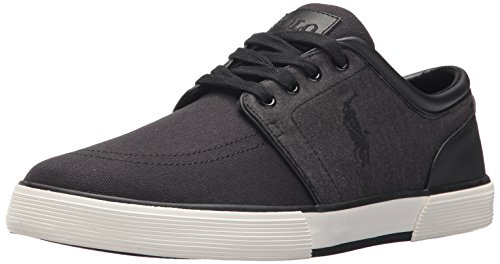 Polo Ralph Lauren Men's Faxon Low-Canvas/Jrsy Hthr Sneaker, Black, 13 D US
