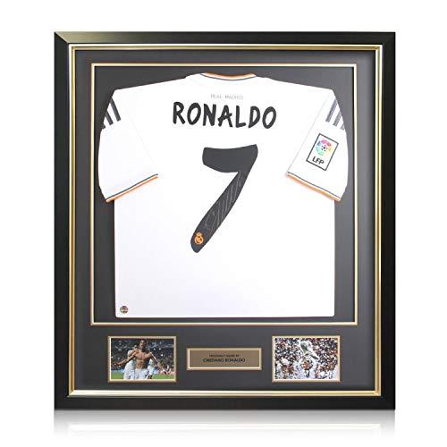 (Framed Cristiano Ronaldo Signed Real Madrid Soccer Jersey)